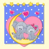 Lovers Elephants — Stock Vector
