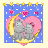 Lovers Hippos — Stock Vector