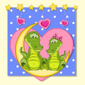 Lovers Crocodiles — Stock Vector