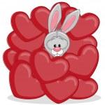 Bunny in hearts — Stock Vector #68565639