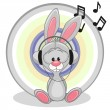 Bunny with headphones — Stock Vector #68565641
