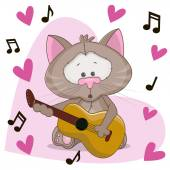 Cat with guitar — Vector de stock