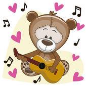 Teddy Bear with guitar — Stock Vector