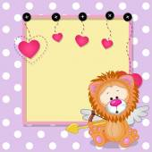 Cupid Lion with frame — Stockvector
