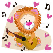 Lion with guitar — Stock Vector
