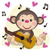 Monkey with guitar — Stock Vector