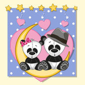 Lovers Pandas — Stock Vector