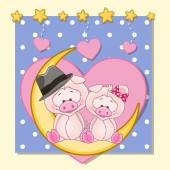 Lovers Pigs — Stock Vector