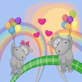 Lovers Hippos — Stockvektor