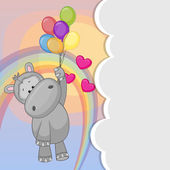 Hippo with balloons — Vector de stock