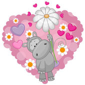 Hippo with hearts and flower — Stock Vector