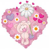 Pig with hearts and flower — Stock Vector