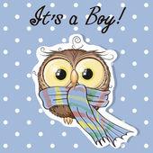 Cute boy owl — Stock Vector