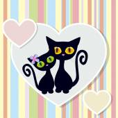 Two Black Cats — Stock Vector