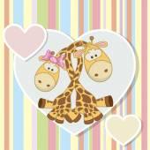 Two Giraffes — Stock Vector