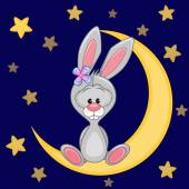 Cute Bunny on the moon — Stock Vector