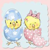 Two hatched chick — Stock Vector