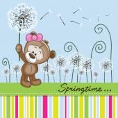 Cute Teddy Bear with dandelion — Stock Vector