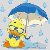 Duck with umbrella — Stock Vector