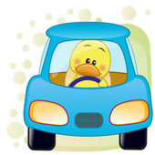 Duck in a car — Stock Vector
