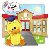Duck and school — Stock Vector