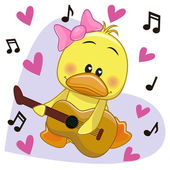 Duck with guitar — Stock Vector