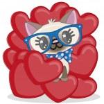 Cat in hearts — Stock Vector #72074609