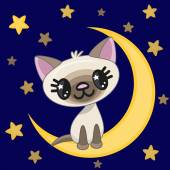Cute Cat on the moon — Stock Vector