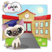 Cat and school — Stock Vector