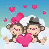 Lovers Monkeys — Stock Vector