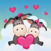 Lovers Donkeys — Stock Vector