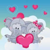 Lovers Elephans — Stockvektor