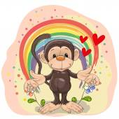 Monkey with flowers — Stock Vector