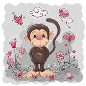 Μαϊμού με λουλούδια — ストックベクタ
