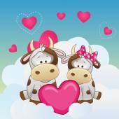Lovers Cows — Stock Vector
