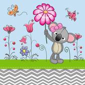 Cute Koala with a Flower — Stock Vector