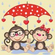 Two Monkeys with umbrella — Stock Vector #74891257