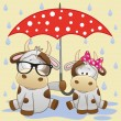 Two Cows with umbrella — Stock Vector #74891605