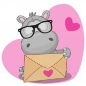 Hippo with envelope — Stockvektor