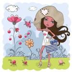Girl on a meadow — Stock Vector #75124159