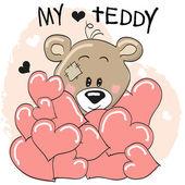 Bear in hearts — Stock Vector