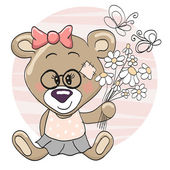 Bear with flowers — Stock Vector