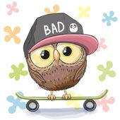 Owl with skateboard — Stock Vector