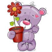 花とぬいぐるみ — ストックベクタ