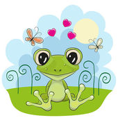 Frog with flowers — Stock Vector