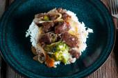 Spice beef with rice. — Stock Photo