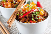 Fried rice noodles with shrimp. — Stock Photo