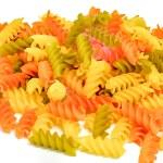 Colorful dried tri colored fusilli pasta isolated on white — Stock Photo #61572165