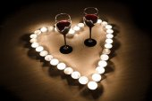 Valentine background of wine and candles — Stock Photo