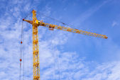 The site with cranes against blue sky — Stock Photo